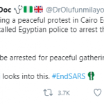 #EndSARS: Nigerian Protesters Arrested in Egypt