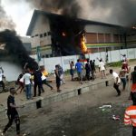 #ENDSARS: Thugs Set Ablaze Police Station in Lagos